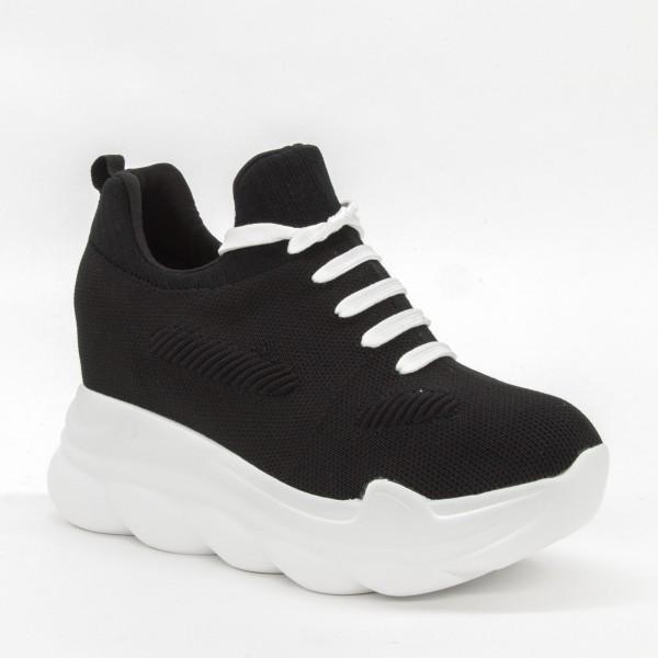 Pantofi Sport cu Platforma Dama QQ18 Black-White Mei