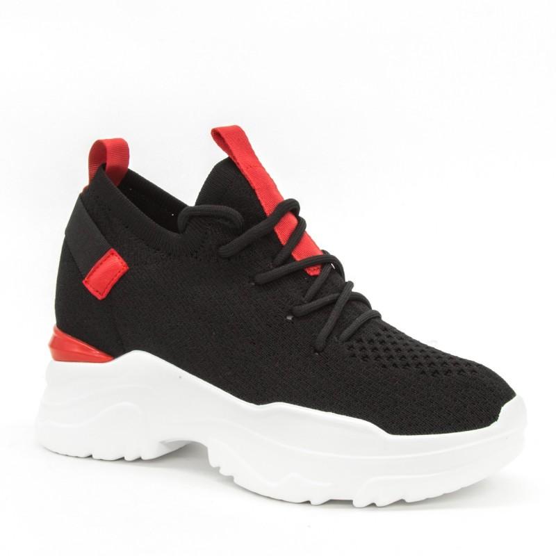 Pantofi Sport cu Platforma Dama CJL6 Black-Red Mei