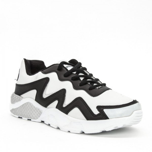 Pantofi Sport Dama C8 White-Black Sport Fashion