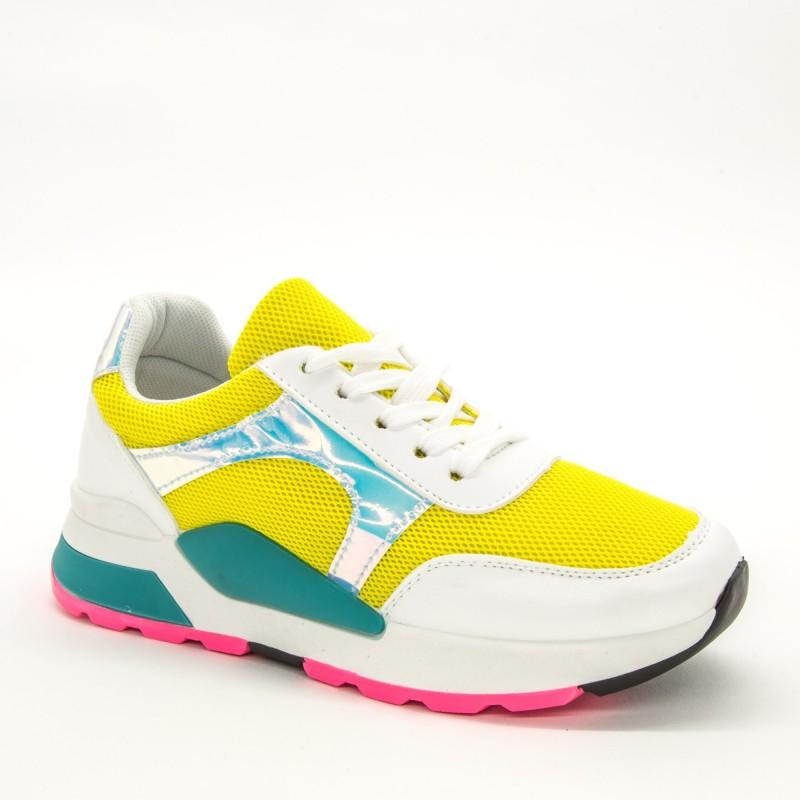Pantofi Sport Dama ABC286 White-Yellow Sport Fashion