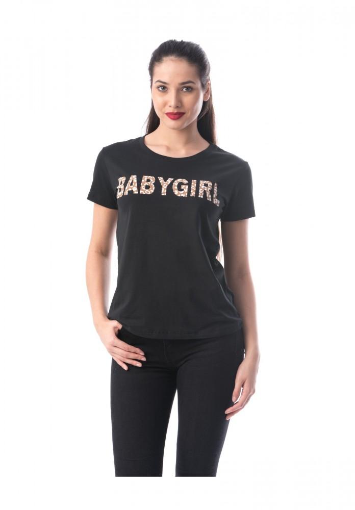 Tricou Dama 8050 BABYGIRL Negru Adrom