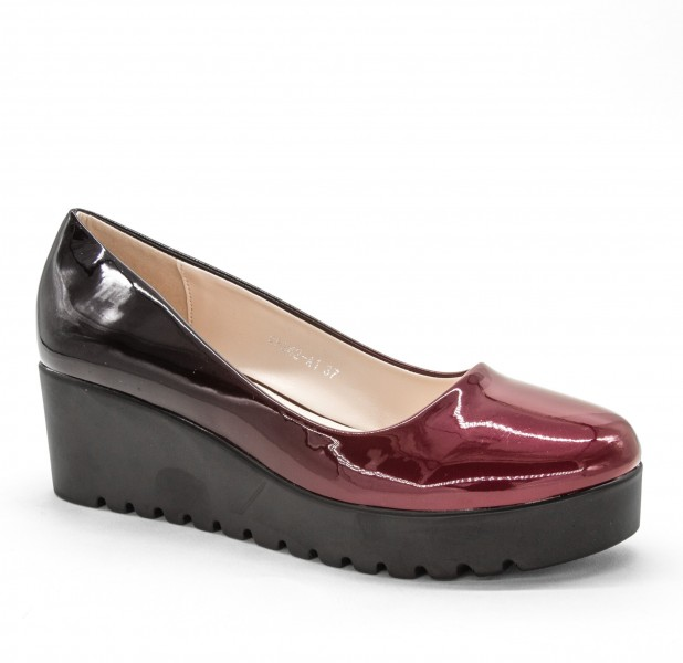 Pantofi Casual Dama cu Platforma W5342-A1 Winered-Black Lady Star