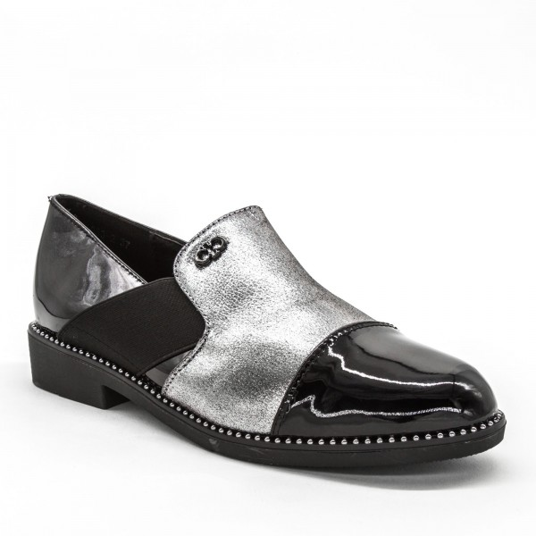 Pantofi Casual Dama 333-2 Black-Guncolor Lady Star
