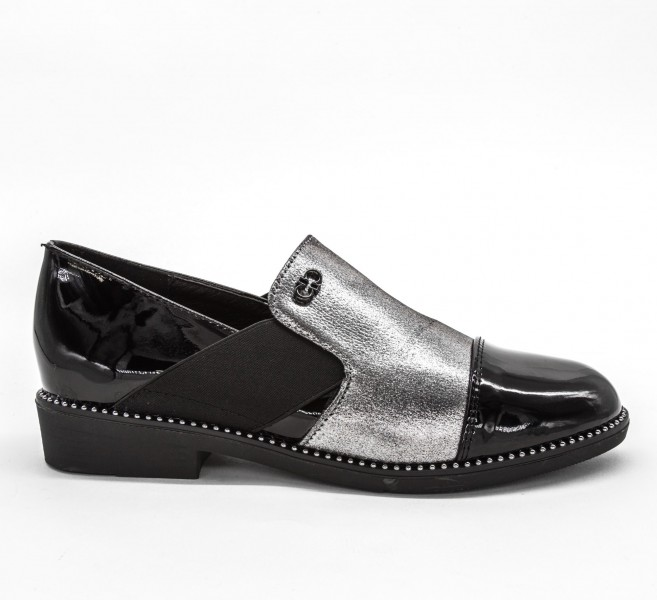 Pantofi Casual Dama 333-2 Black-Guncolor Lady Star