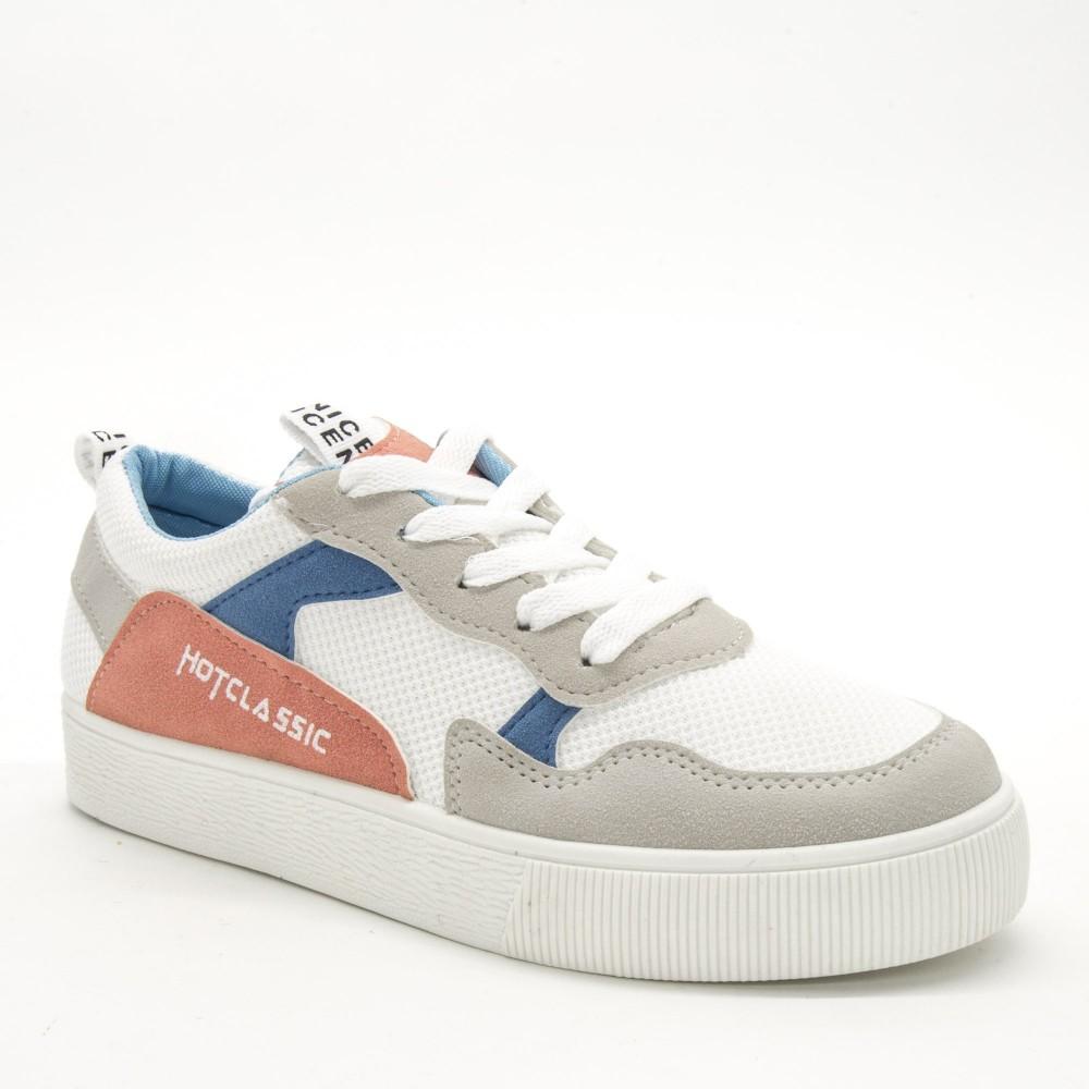 Pantofi Sport Dama 555 White-Pink Sport Fashion