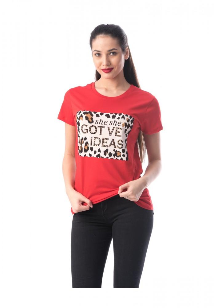 Tricou Dama 8051 IDEAS Rosu Adrom