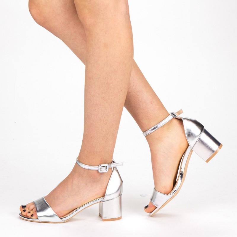 Sandale Dama cu Toc YBS37 Silver Mei