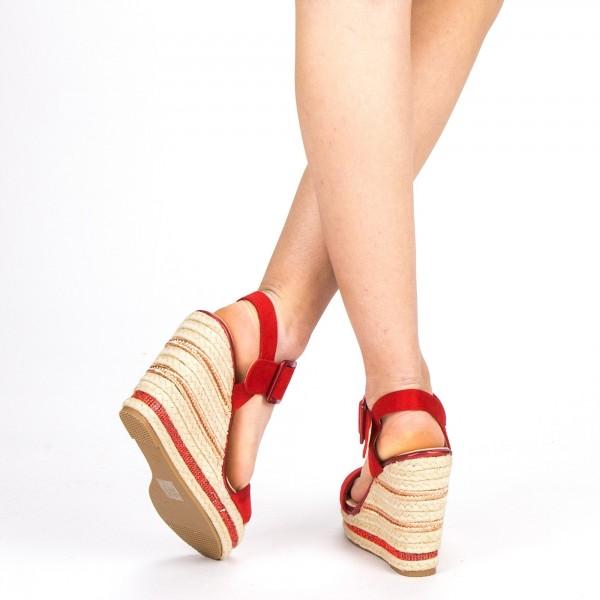 Sandale Dama cu Toc si Platforma YBS23 Red Mei