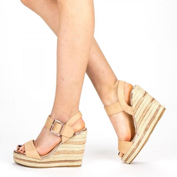 Sandale Dama cu Toc si Platforma YBS23 Beige Mei