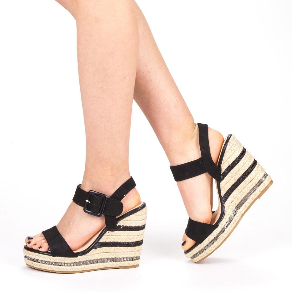 Sandale Dama cu Toc si Platforma YBS23 Black Mei