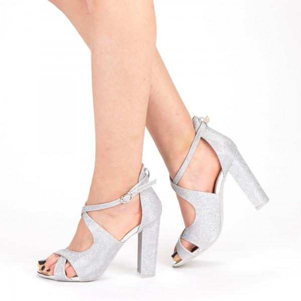 Sandale Dama cu Toc XKK163B Silver Mei