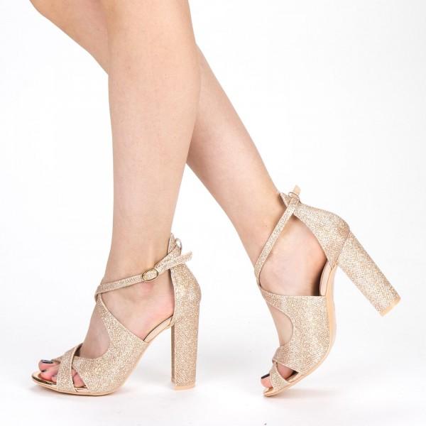 Sandale Dama cu Toc XKK163B Champagne Mei