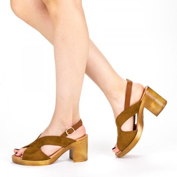 Sandale Dama cu Toc XD225 Camel Mei
