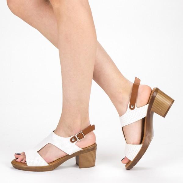 Sandale Dama cu Toc XD223 White Mei
