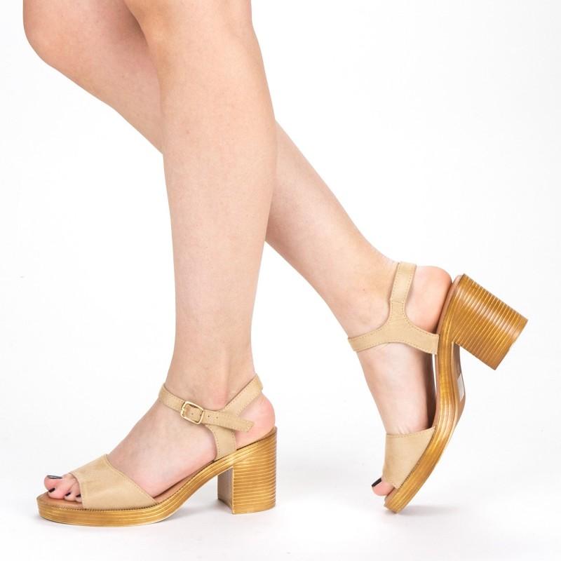 Sandale Dama cu Toc XD222 Beige Mei