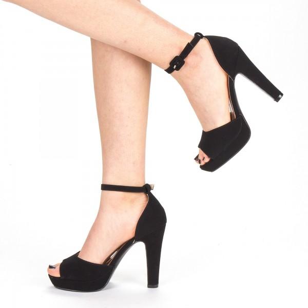 Sandale Dama cu Toc si Platforma XD130 Black Mei