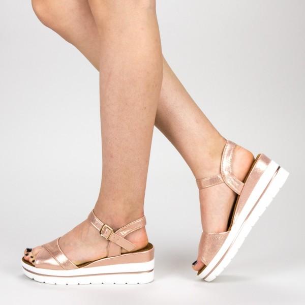 Sandale Dama cu Platforma WT60 Champagne Mei