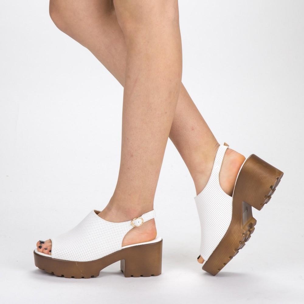 Sandale Dama cu Toc si Platforma WH17 White Mei