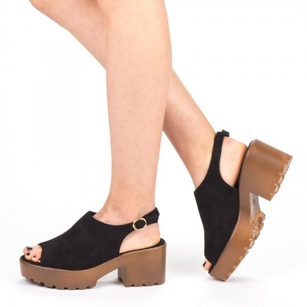 Sandale Dama cu Toc si Platforma WH17 Black Mei