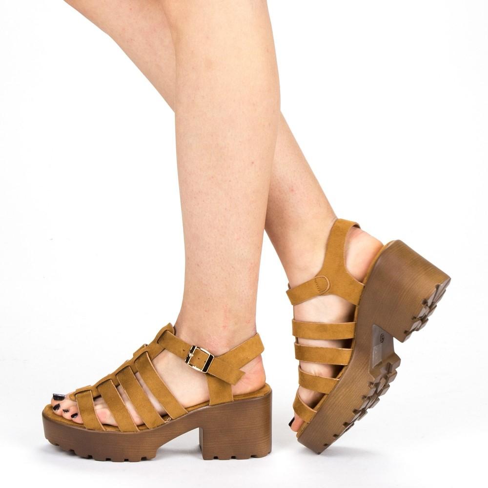Sandale Dama cu Toc si Platforma WH16 Camel Mei