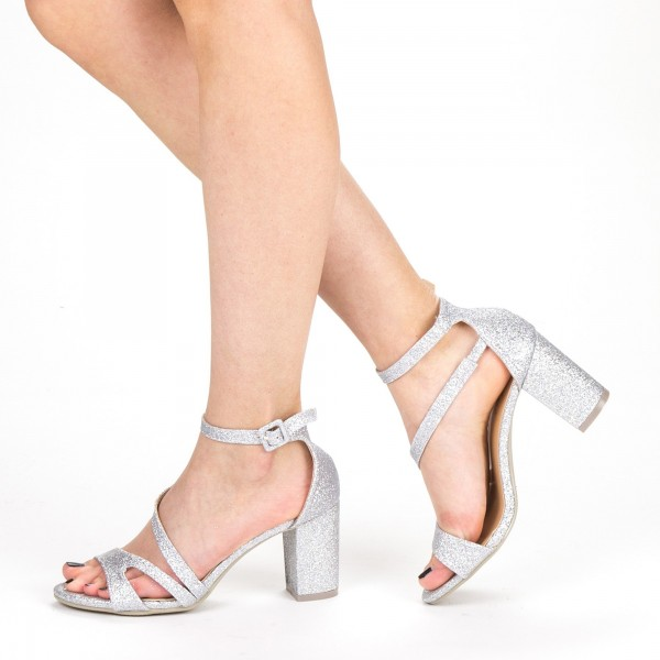 Sandale Dama cu Toc QZL219 Silver Mei