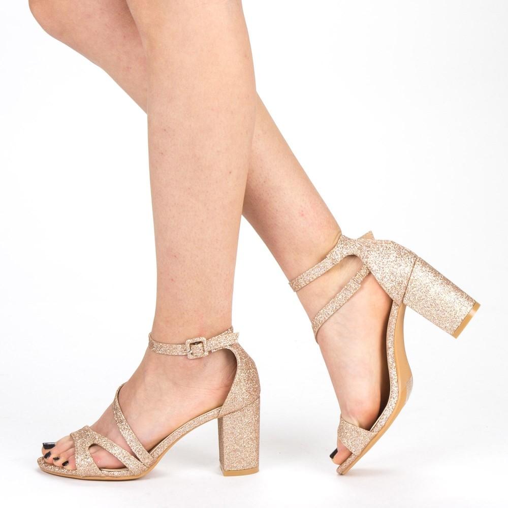 Sandale Dama cu Toc QZL219 Champagne Mei