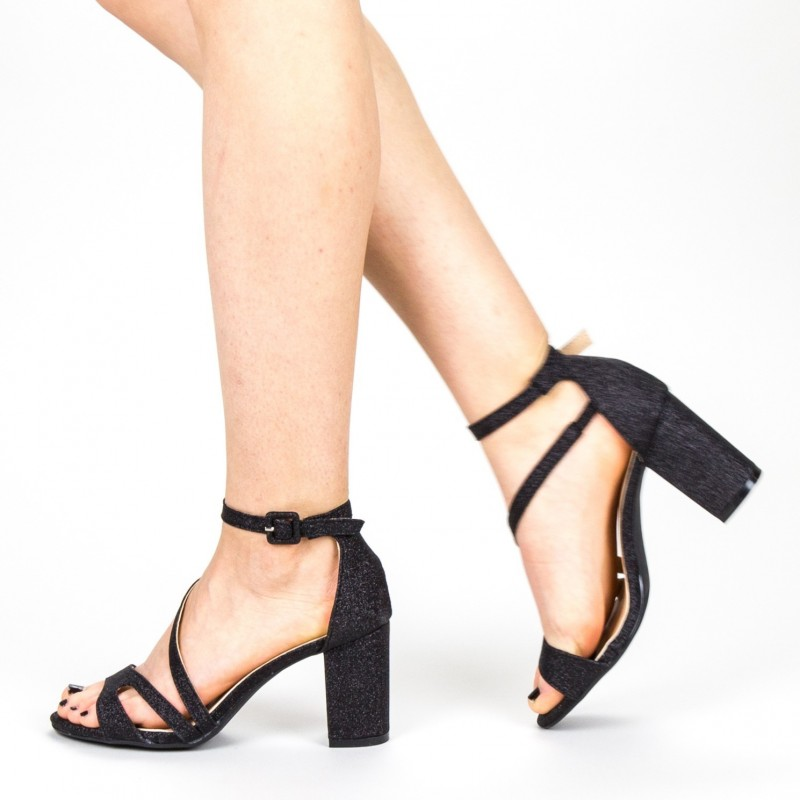 Sandale Dama cu Toc QZL219 Black Mei