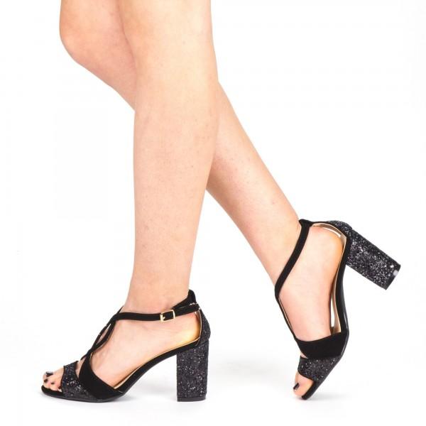 Sandale Dama cu Toc QZL216A Black Mei