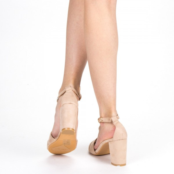 Sandale Dama cu Toc QZL216 Nude Mei