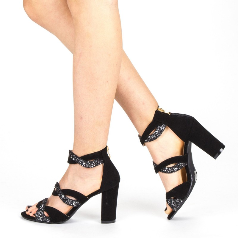 Sandale Dama cu Toc QZL215B Guncolor Mei