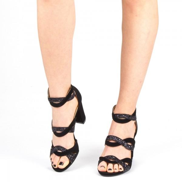 Sandale Dama cu Toc QZL215B Black Mei