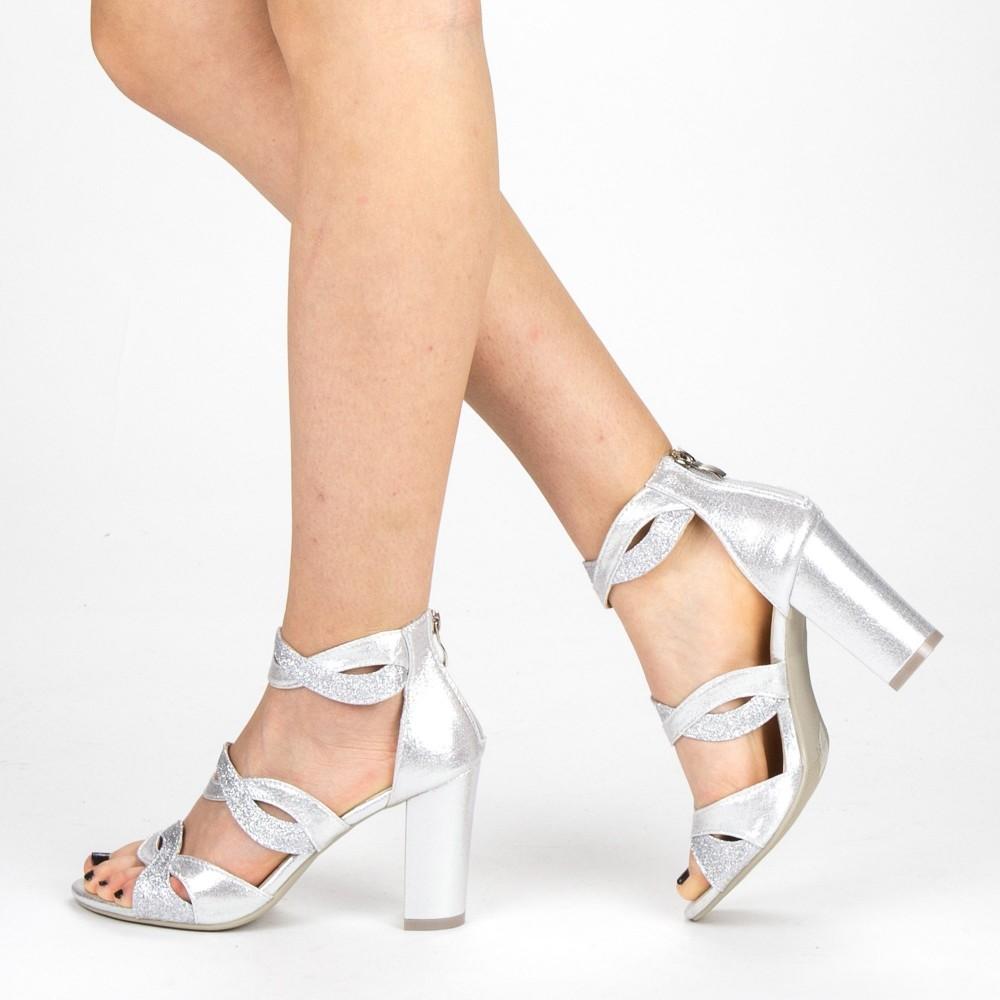 Sandale Dama cu Toc QZL215A Silver Mei