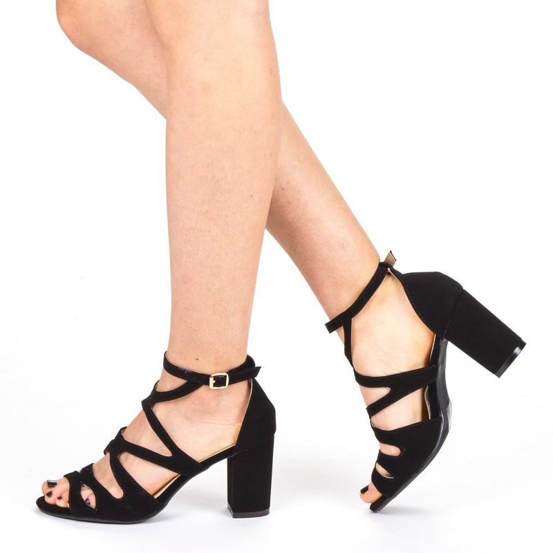 Sandale Dama cu Toc QZL213 Black Mei