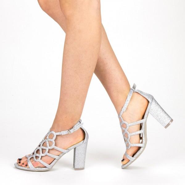 Sandale Dama cu Toc QZL212A Silver Mei