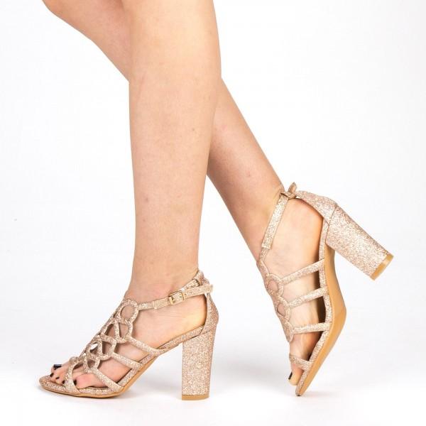Sandale Dama cu Toc QZL212A Gold Mei
