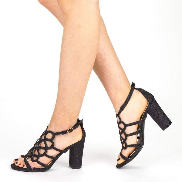 Sandale Dama cu Toc QZL212A Black Mei