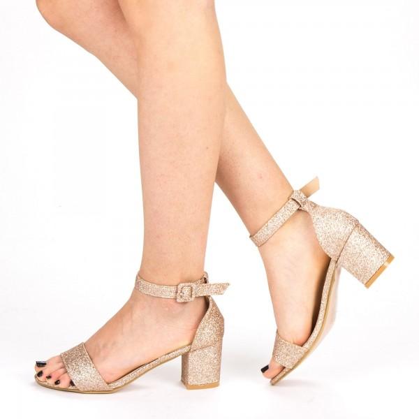 Sandale Dama cu Toc QZL152F Champagne Mei