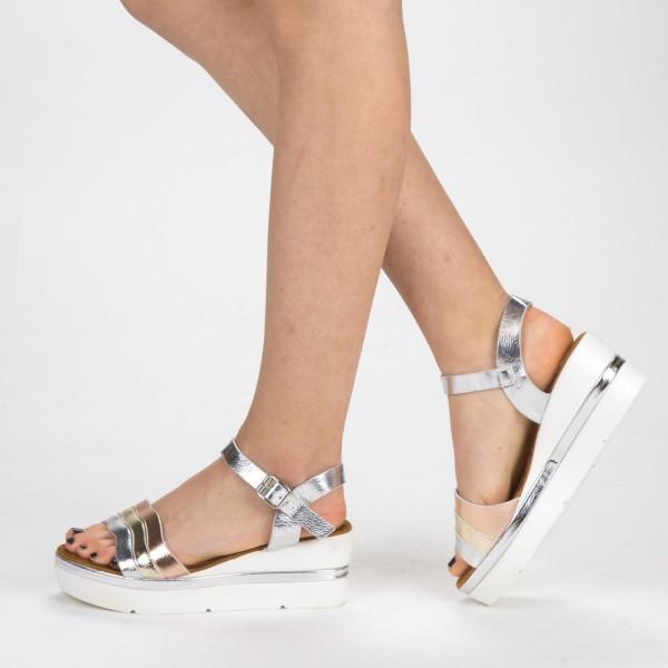 Sandale Dama cu Toc si Platforma LM268 Silver Mei