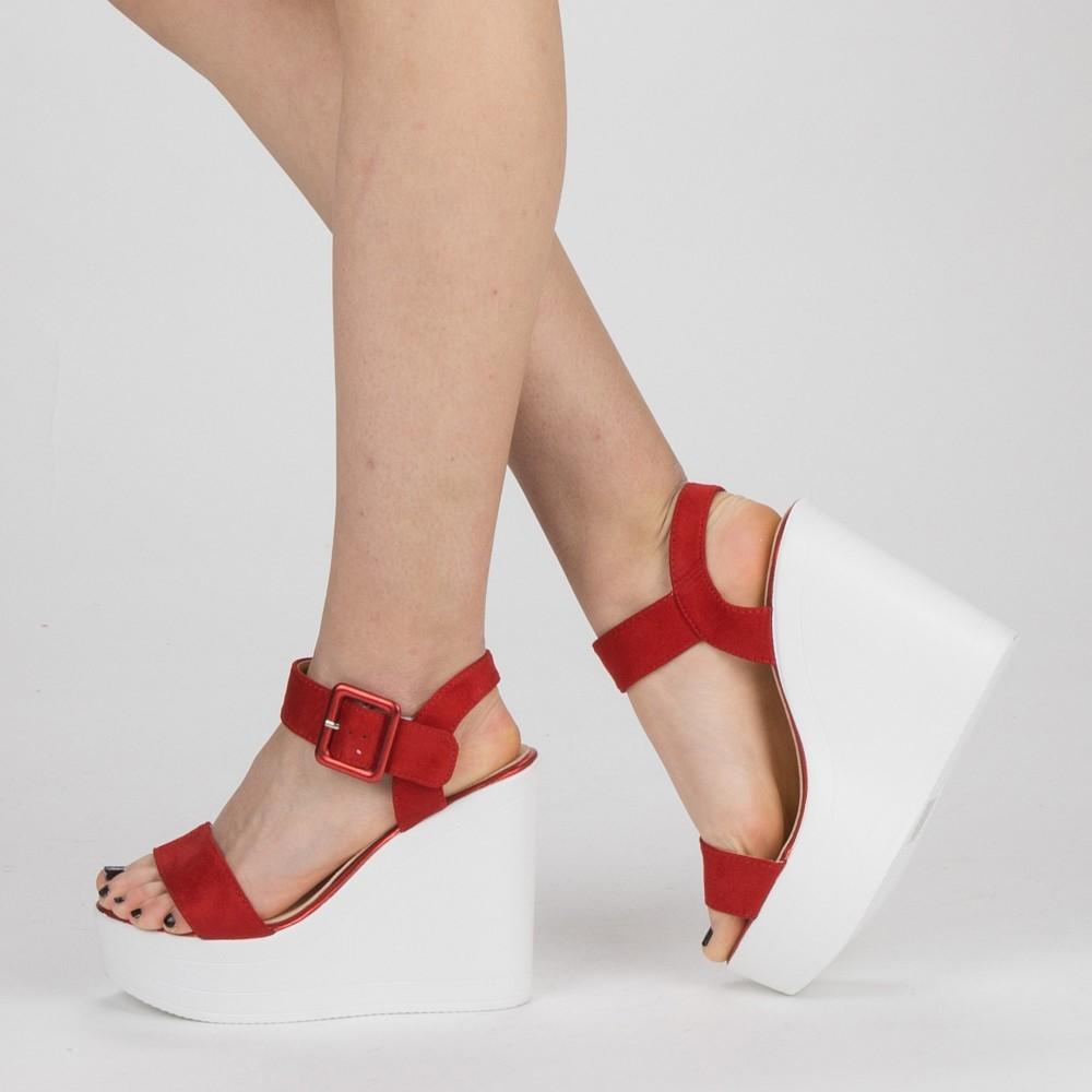 Sandale Dama cu Toc si Platforma LM267 Red Mei