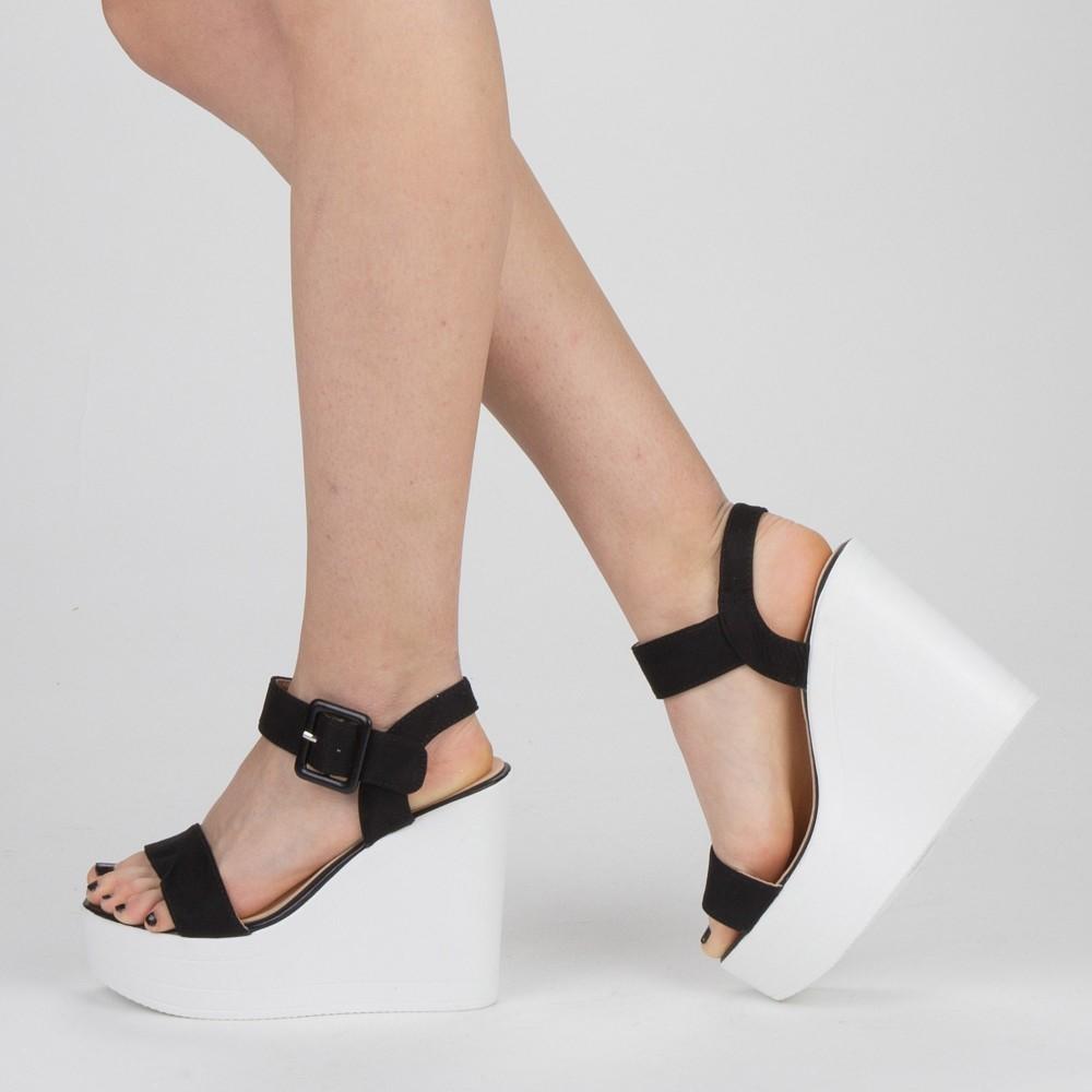 Sandale Dama cu Toc si Platforma LM267 Black Mei
