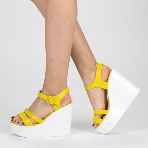 Sandale Dama cu Toc si Platforma LM261 Yellow Mei