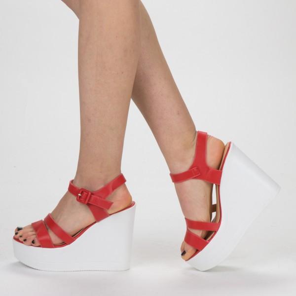 Sandale Dama cu Toc si Platforma LM261 Red Mei