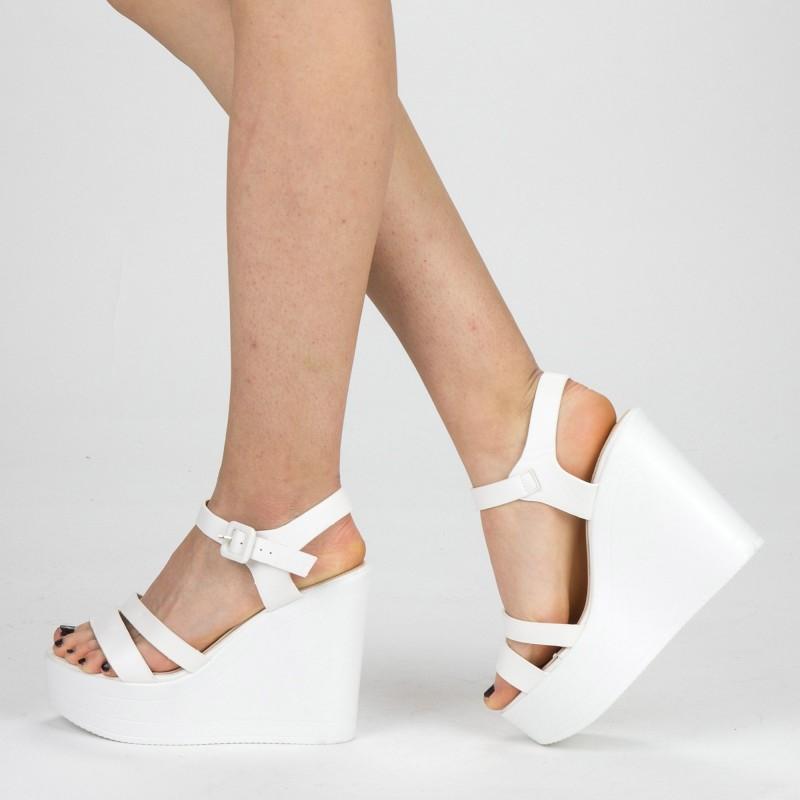 Sandale Dama cu Toc si Platforma LM261 White Mei
