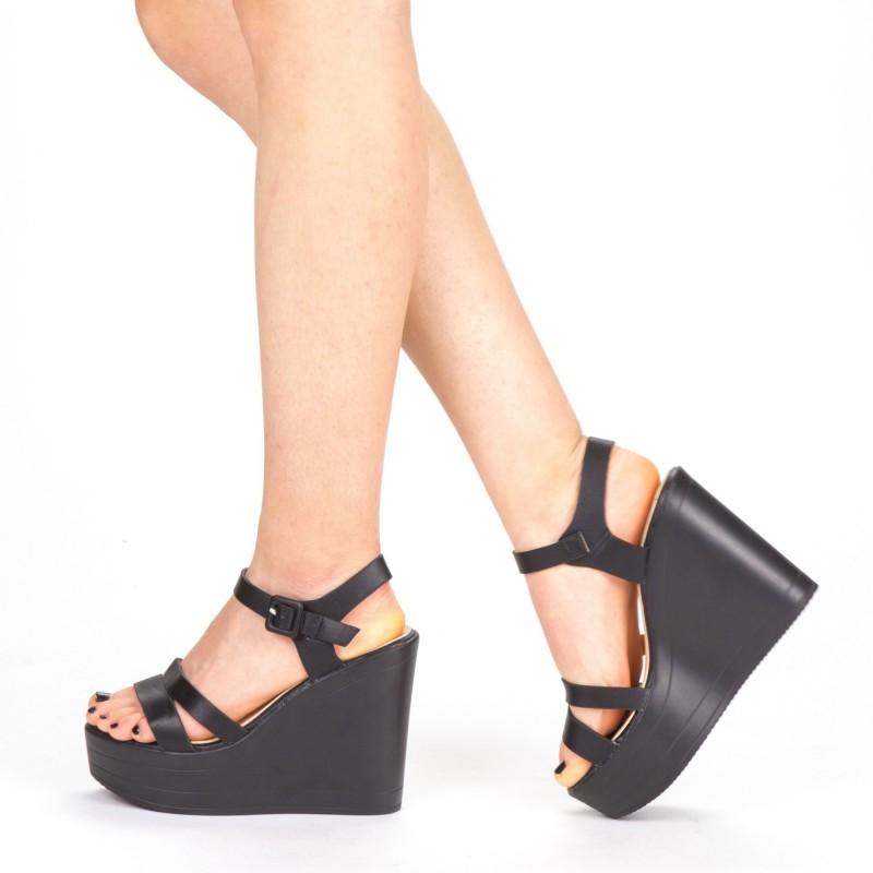 Sandale Dama cu Toc si Platforma LM261 Black Mei