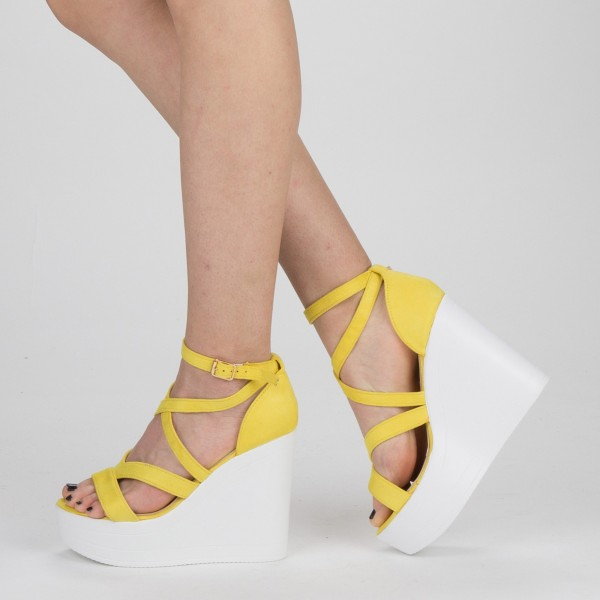 Sandale Dama cu Toc si Platforma LM259 Yellow Mei