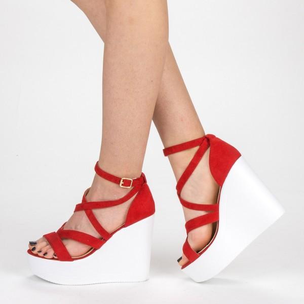 Sandale Dama cu Toc si Platforma LM259 Red Mei