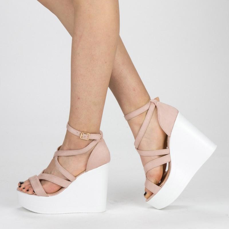 Sandale Dama cu Toc si Platforma LM259 Pink Mei