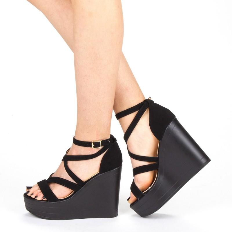 Sandale Dama cu Toc si Platforma LM259 Black Mei