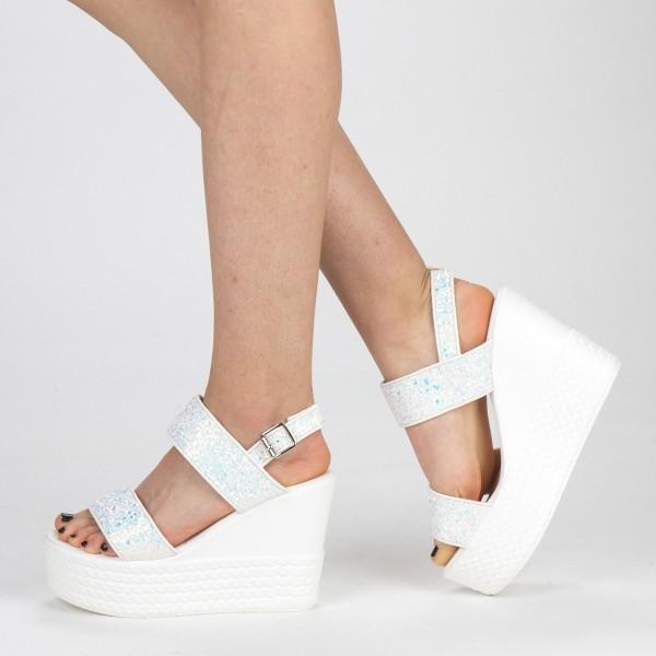 Sandale Dama cu Toc si Platforma LM251 White Mei
