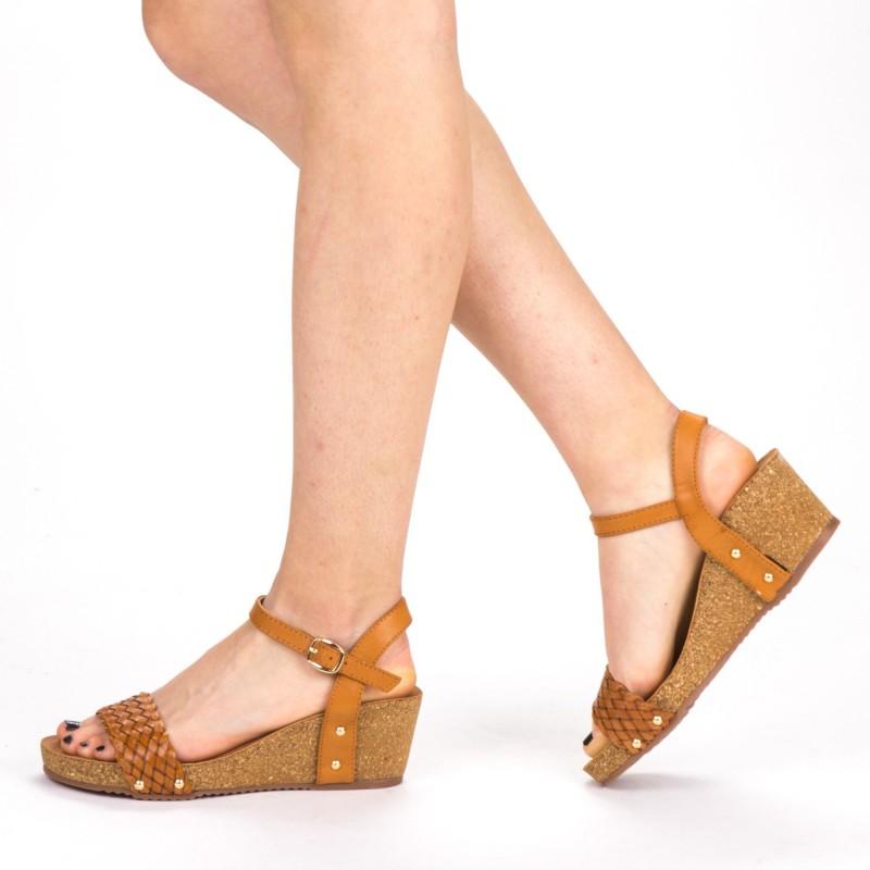 Sandale Dama cu Platforma FD50 Camel Mei